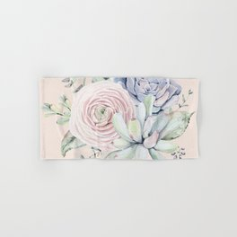 Pretty Pink Succulents Garden Hand & Bath Towel