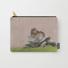 Tortoise on Blush Pink with Peonies Carry-All Pouch