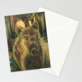Wild pig in the wood Stationery Cards