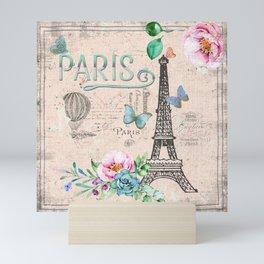 Paris - my love - France Nostalgy - pink French Vintage Mini Art Print