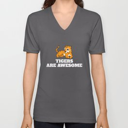 Tigers Are Awesome Dog Lovers Unisex V-Neck