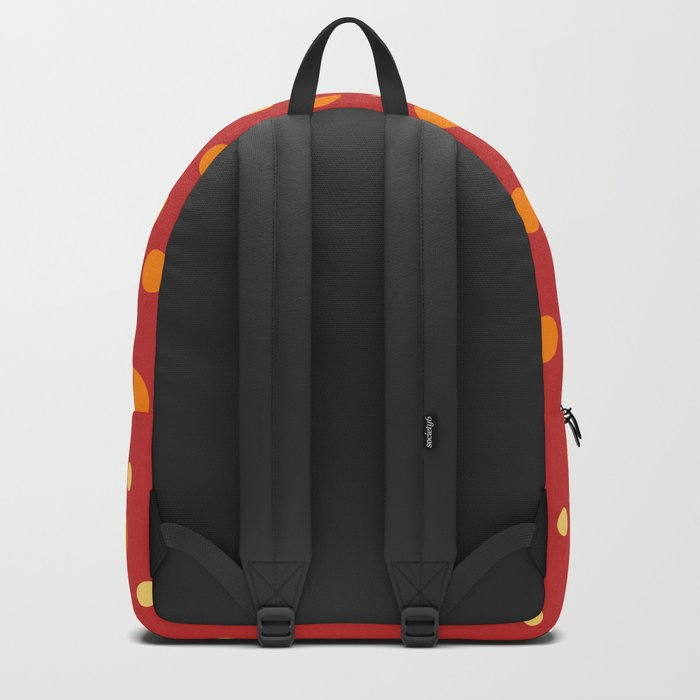 Red Yellow Orange Dots Pattern Backpack