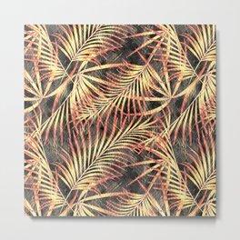 Gold palm leaves. Metal Print
