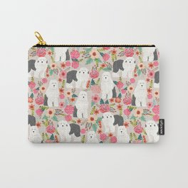 Old English Sheepdog floral dog breed pet art pattern gifts Carry-All Pouch