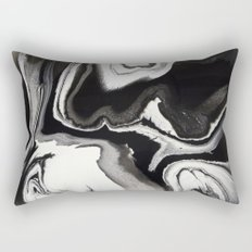 Abstract Black and White Marbled Fluid Painting Rectangular Pillow