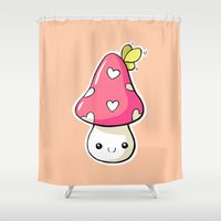 mushroom Shower Curtains featuring Mushroom by Freeminds