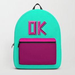 """OK"" 3D Letters (Mint Green, Deep Pink) Backpack"