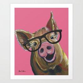 Pink Pig Painting, Cute Farm Animal Art Print