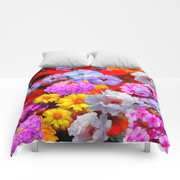 PINK-YELLOW-WHITE FLOWERS ON RED Comforters