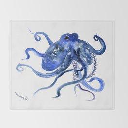 Octopus Design Blue Navy Blue Beach Throw Blanket
