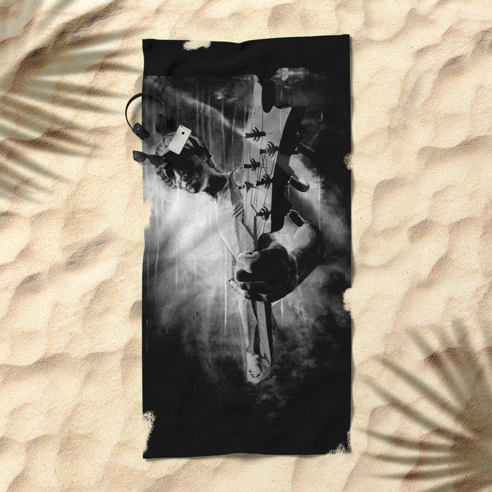 The GUITAR GOD - black version Beach Towel