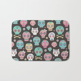 Sugar Skulls On Black Bath Mat