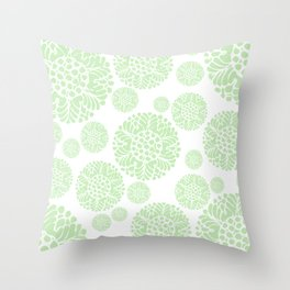 Abstract Flower Medallion Spring/Summer Muted Green and White Throw Pillow