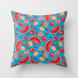Red Fruits vTurquoise Throw Pillow
