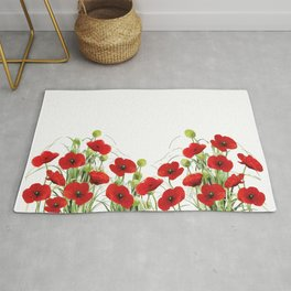 Poppies Flower Field red with background Rug