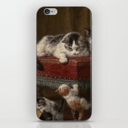 Cats family painting iPhone Skin