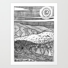 Cabin on the Hill Art Print