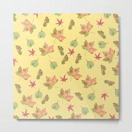 Autumn Leaves Pattern, Light Orange Background Metal Print