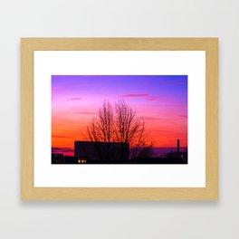 Concept landscape : city sunset Framed Art Print