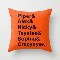 oitnb Throw Pillows featuring OITNB Orange Inmates Names by Double Dot Designs
