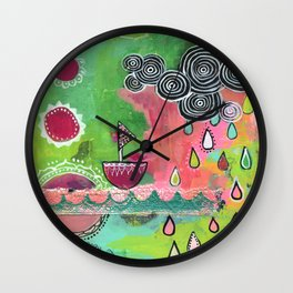 Happiness Boat Wall Clock