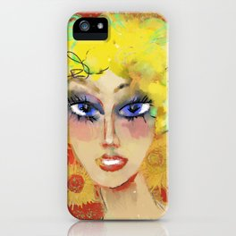 Lora with sunflowers iPhone Case