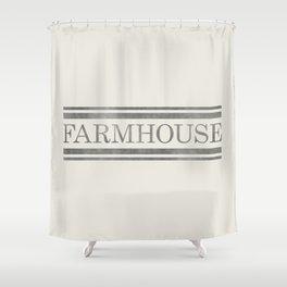 Vintage Farmhouse Grain Sack Design - Cream and Grey Shower Curtain