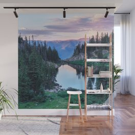 Hikers Bliss Perfect Scenic Nature View \ Mountain Lake Sunset Beautiful Backpacking Landscape Photo Wall Mural
