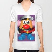 popeye V-neck T-shirts featuring Popeye Potato Head by tgronberg