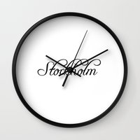 stockholm Wall Clocks featuring Stockholm by Blocks & Boroughs