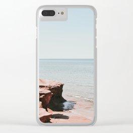 Pink rock ocean Clear iPhone Case