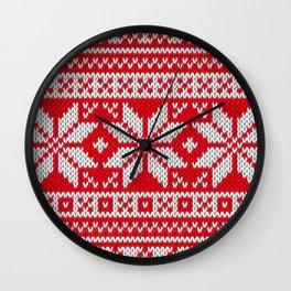Winter knitted pattern 3 Wall Clock
