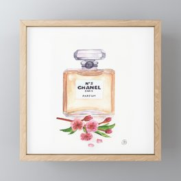 Watercolor Perfume Bottle With Cherry Blossoms Print Framed Mini Art Print