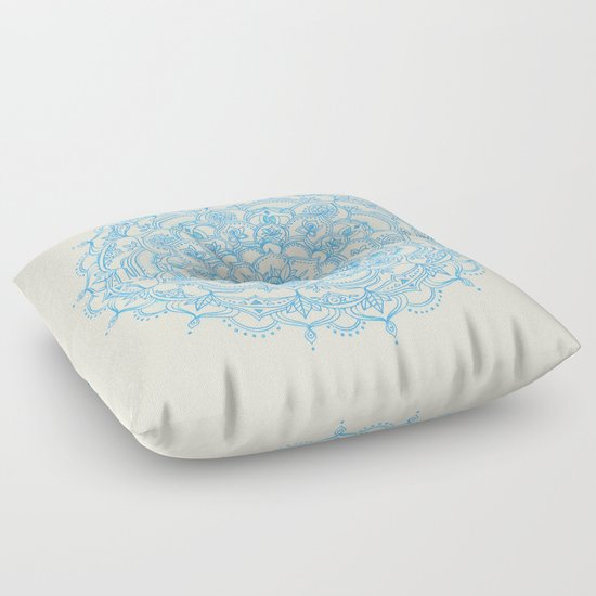 Pale Blue Pencil Pattern - hand drawn lace mandala Floor Pillow by Micklyn Society6