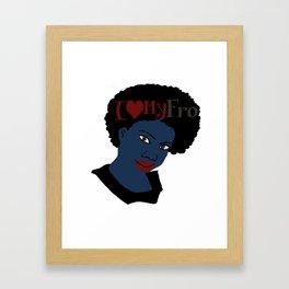 I Love My AFro Blue Hair WordArt Natural Hair Framed Art Print