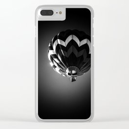 Up a black and white phtograph of a hot air balloon Clear iPhone Case