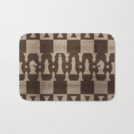 Chess Pieces Pattern - wooden texture Bath Mat