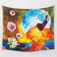 moonrise Wall Tapestries featuring Moonrise by SMartin Collages