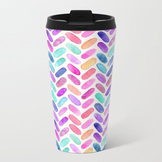 Rainbow Herringbone Watercolor Oblongs Metal Travel Mug
