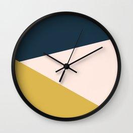 Jag 2. Minimalist Angled Color Block in Navy Blue, Blush Pink, and Mustard Yellow Wall Clock