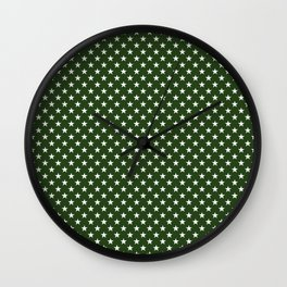 White Five Pointed Stars on Dark Forest Green Wall Clock