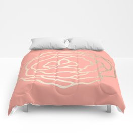 Flower in White Gold Sands on Salmon Pink Comforters