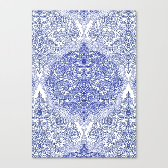 Happy Place Doodle in Cornflower Blue, White & Grey Canvas Print