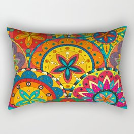 Funky Retro Pattern Mandalas Rectangular Pillow