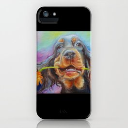 Black Valentine gift for Gordon Setter Dog Lover iPhone Case