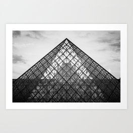 Louvre Pyramid in black and white Art Print