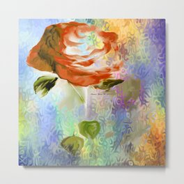 Red Rose With Psychedelic Background By Annie Zeno Metal Print