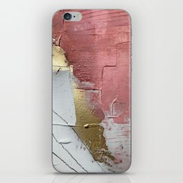 Darling: a minimal, abstract mixed-media piece in pink, white, and gold by Alyssa Hamilton Art iPhone Skin