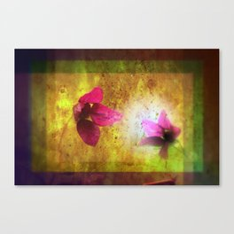 marriage of Titania; Salmon berry floral duet Shakespearean hidden pictures Canvas Print