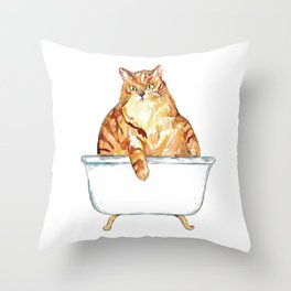 SPA Cat tabby Painting Wall Poster Watercolor Throw Pillow